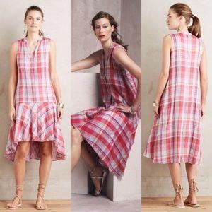 Maeve Anthropologie Pippa Red Plaid Hi Low Dress M